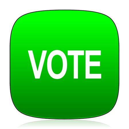 polls: vote green icon Stock Photo