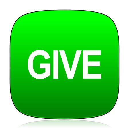 give: give green icon Stock Photo