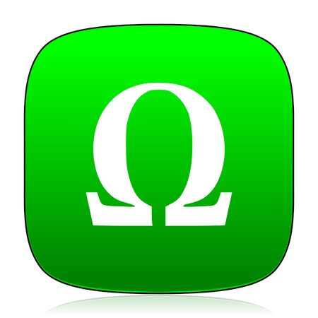 omega: omega green icon for web and mobile app