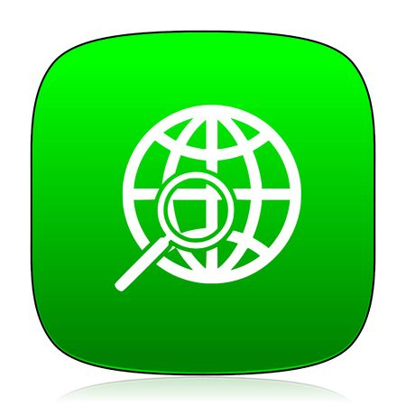 magnification icon: search green icon Stock Photo