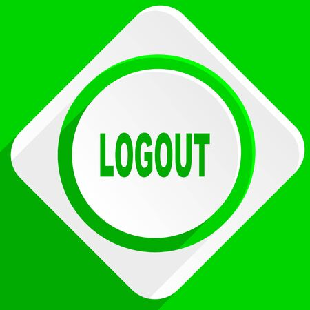 logout: logout green flat icon Stock Photo