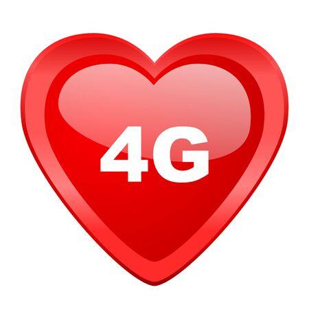 4g: 4g red heart valentine glossy web icon