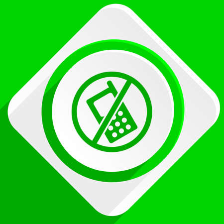 no cell phone sign: no phone green flat icon