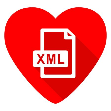 xml: xml file red heart valentine flat icon