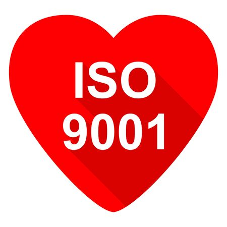 norm: iso 9001 red heart valentine flat icon