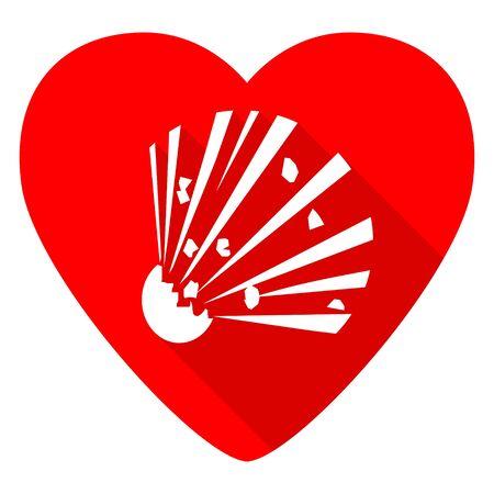 love dynamite: bomb red heart valentine flat icon