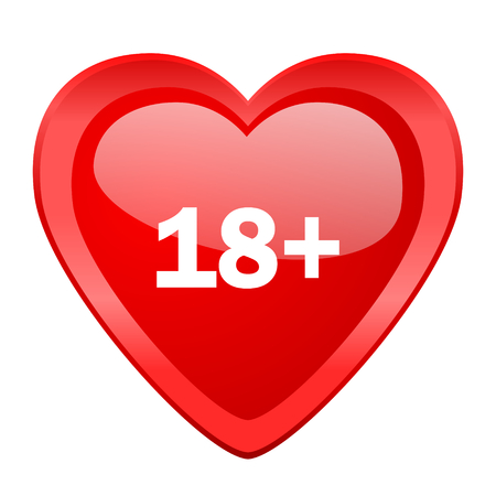 adults: adults red heart valentine glossy web icon
