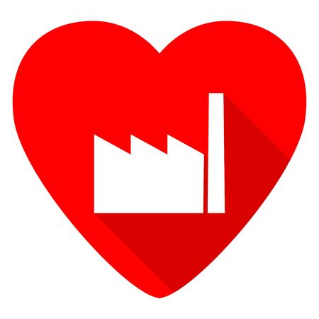 industrial complex: factory red heart valentine flat icon