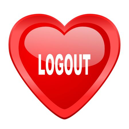 way out: logout red heart valentine glossy web icon