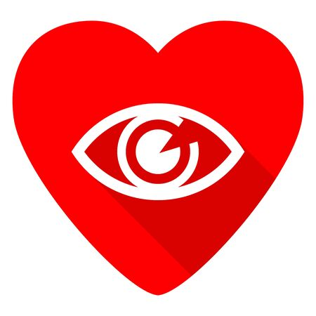 eye red: eye red heart valentine flat icon