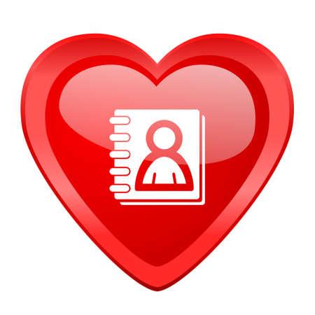 web address: address book red heart valentine glossy web icon Stock Photo
