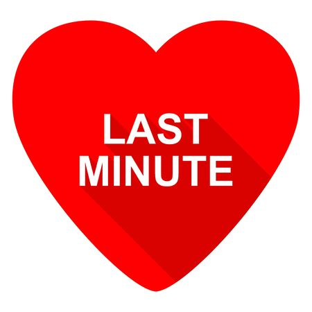 minute: last minute red heart valentine flat icon