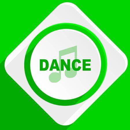 listen live stream: dance music green flat icon