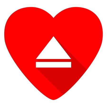 eject: eject red heart valentine flat icon