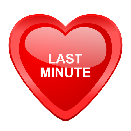 minute: last minute red heart valentine glossy web icon Stock Photo