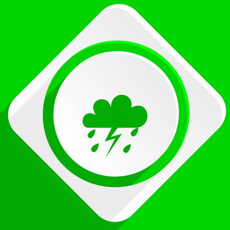 forecasting: storm green flat icon