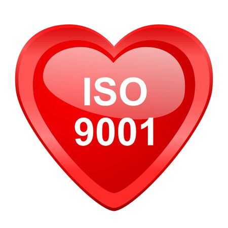 norm: iso 9001 red heart valentine glossy web icon