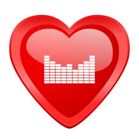 design media love: sound red heart valentine glossy web icon