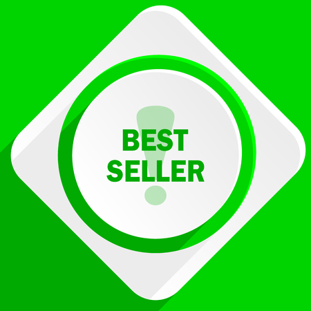 seller: best seller green flat icon