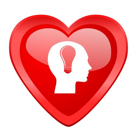 brainy: head red heart valentine glossy web icon Stock Photo