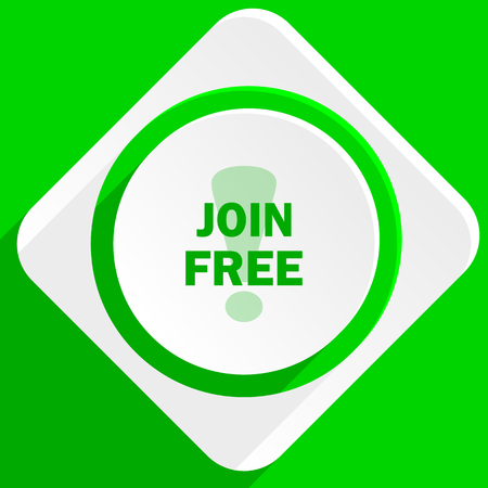 join: join free green flat icon