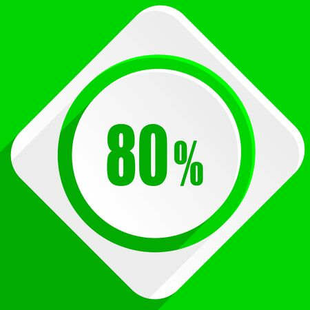 80: 80 percent green flat icon Stock Photo