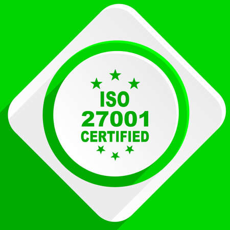 iso: iso 27001 green flat icon