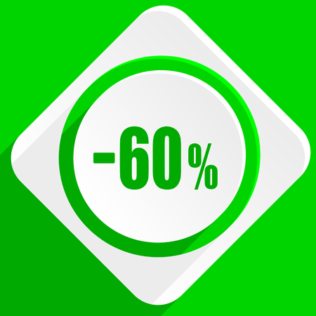 60: 60 percent sale retail green flat icon