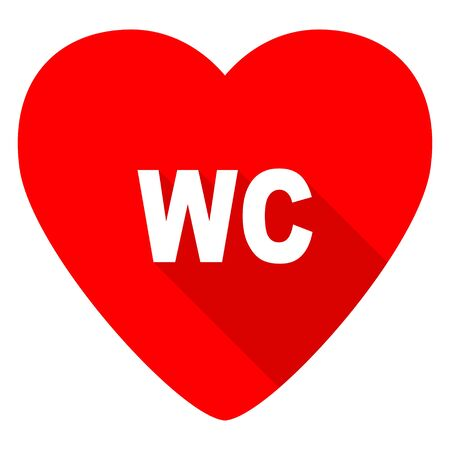 heart sign: toilet red heart valentine flat icon