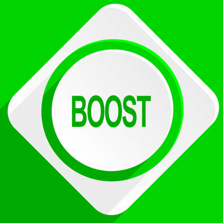 boost: boost green flat icon Stock Photo