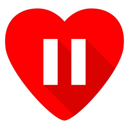 pause red heart valentine flat icon