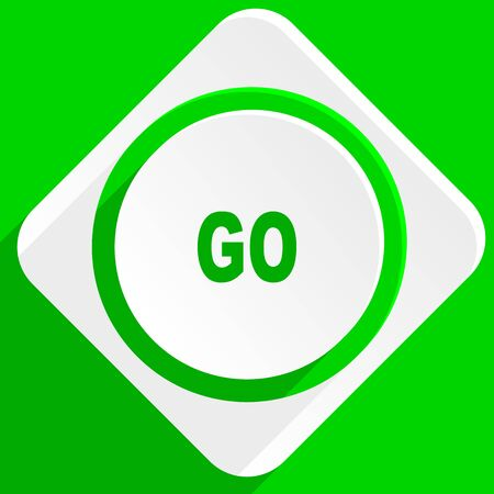 proceed: go green flat icon Stock Photo