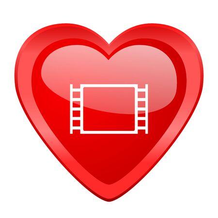 design media love: movie red heart valentine glossy web icon