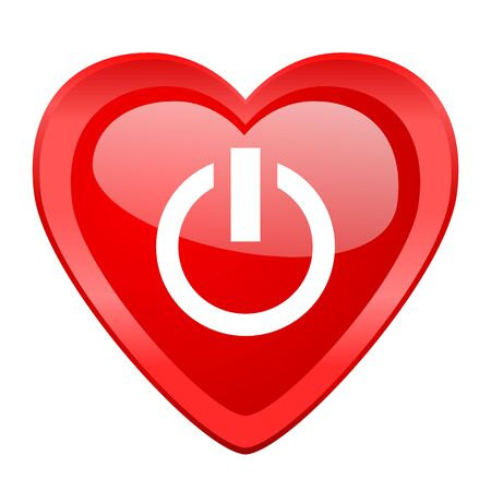proceed: power red heart valentine glossy web icon