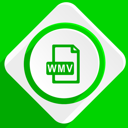 wmv: wmv file green flat icon