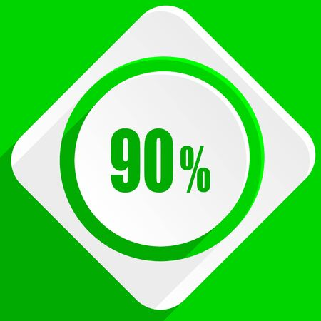 90: 90 percent green flat icon Stock Photo