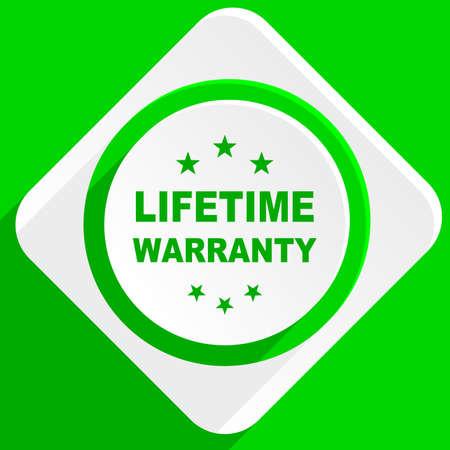 lifetime: lifetime warranty green flat icon