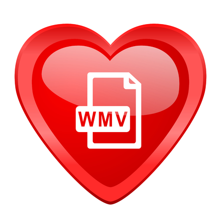 wmv: wmv file red heart valentine glossy web icon
