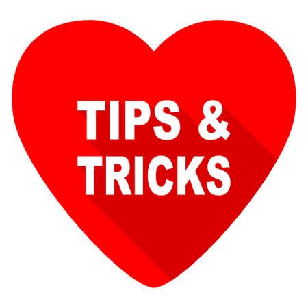 button icon: tips tricks red heart valentine flat icon