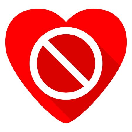 entrance is forbidden: access denied red heart valentine flat icon Stock Photo