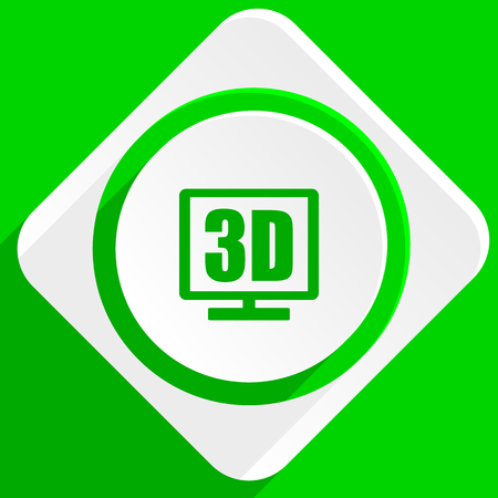 display: 3d display green flat icon