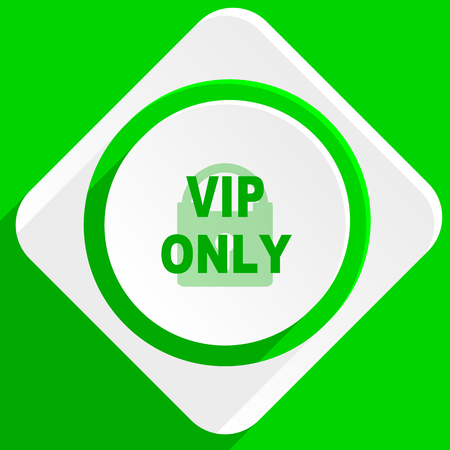 private club: vip only green flat icon