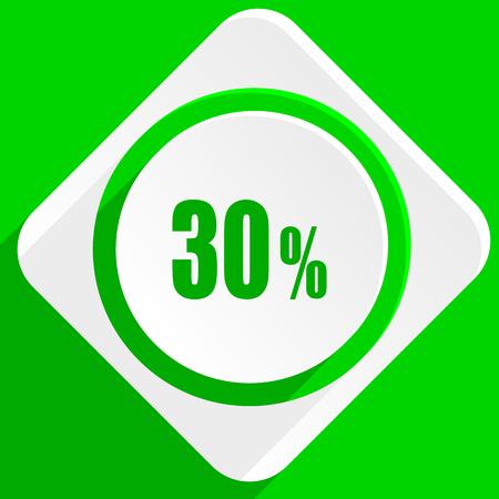 the 30: 30 percent green flat icon