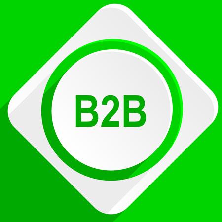 b2b: b2b icono plana verde Foto de archivo