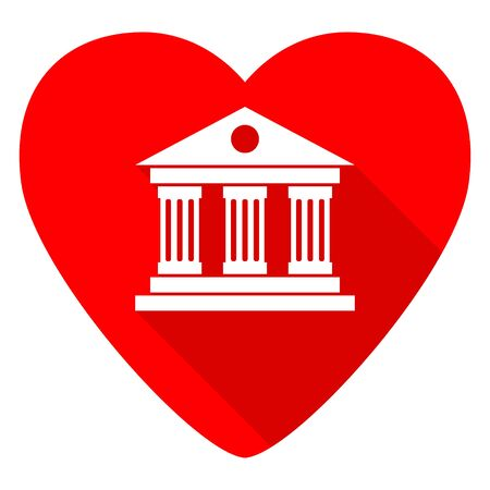 judicial: museum red heart valentine flat icon