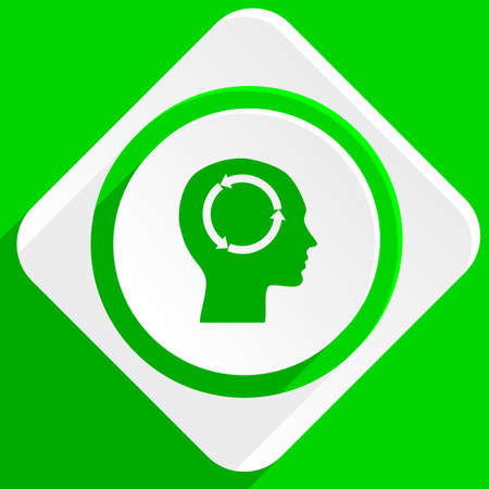 brainy: head green flat icon