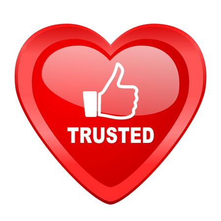 trusted: trusted red heart valentine glossy web icon