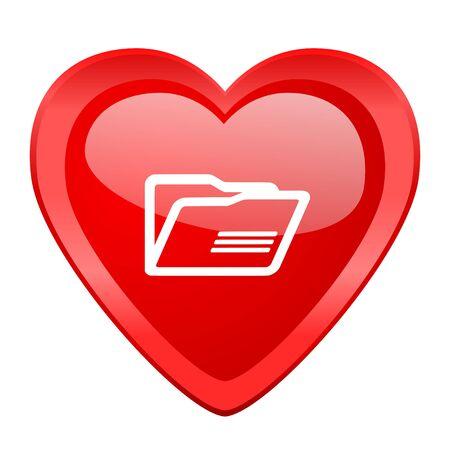 web directories: folder red heart valentine glossy web icon