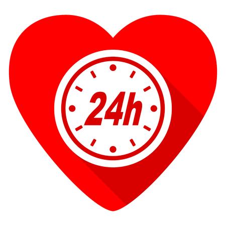 24h: 24h red heart valentine flat icon