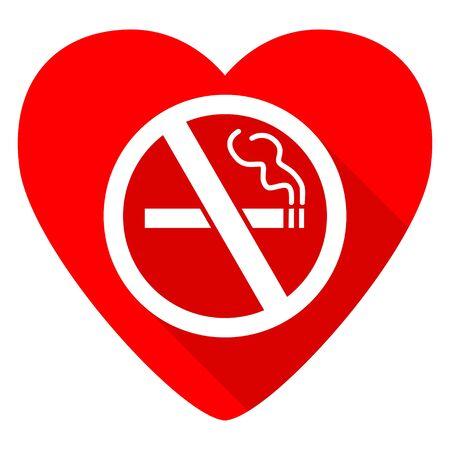 forbidden love: no smoking red heart valentine flat icon Stock Photo